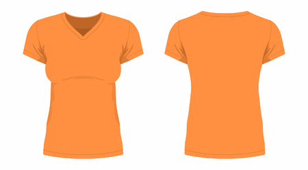Front and back views of womens orange t-shirt on white background