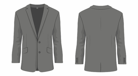 Mens black business suit. Front and back views on white background