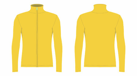 Mens yellow long sleeve t-shirt. Front and back views on white background