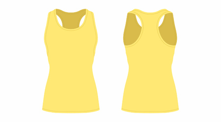 Front and back views of womens yellow t-shirt on white background