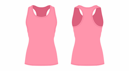 Front and back views of womens pink t-shirt on white background