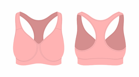 Front and back views of women's pink sport bra on white background