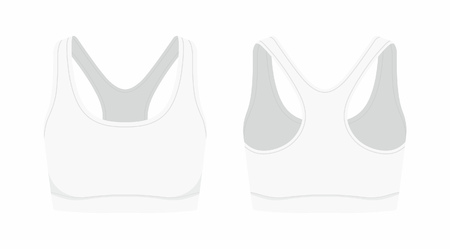 Front and back views of womens white sport bra on white background Ilustração