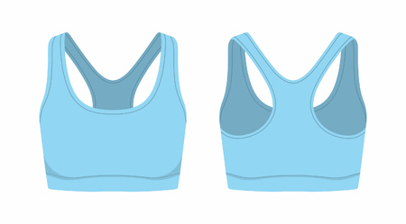 Front and back views of women's blue sport bra on white background