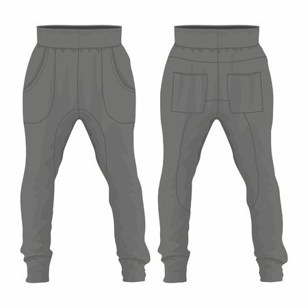 Schwarze Jogginghose für Herren. Vorder- und Rückansicht auf weißem Hintergrund