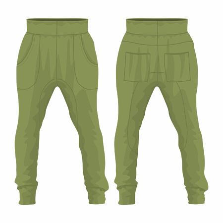 Militärjogginghose für Herren. Vorder- und Rückansicht auf weißem Hintergrund Vektorgrafik
