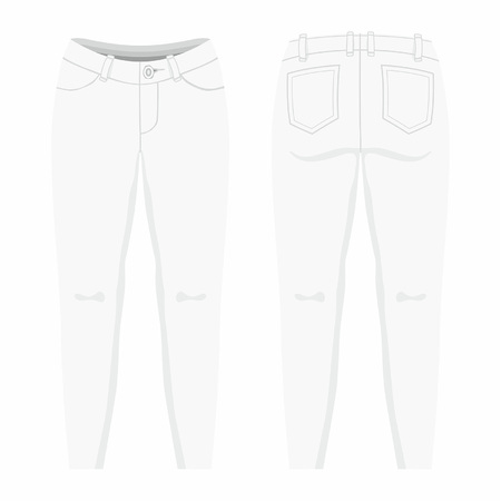 Womens white jeans. Front and back views on white background