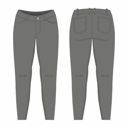 Womens black jeans. Front and back views on white background