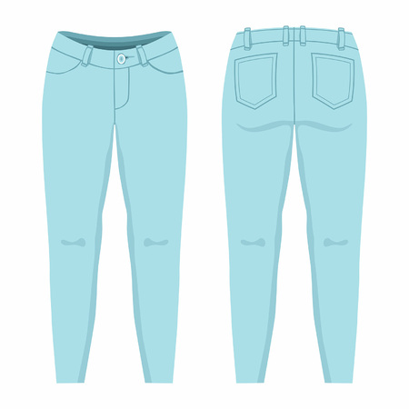 Womens light blue jeans. Front and back views on white background