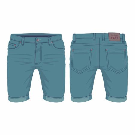 Men's dark blue denim shorts. Front and back views on white background
