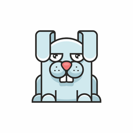Cute hare icon on white background 일러스트