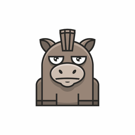Cute donkey icon on white background Vectores