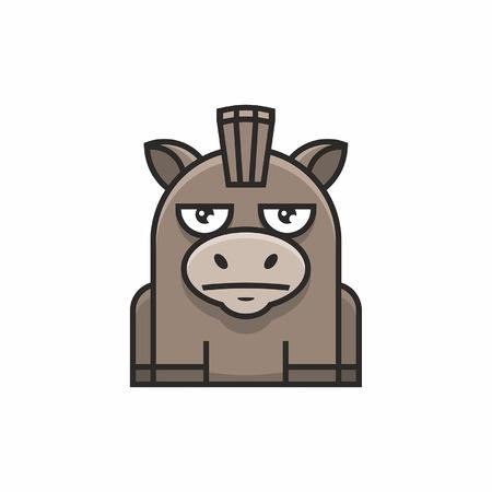 Cute donkey icon on white background Illustration