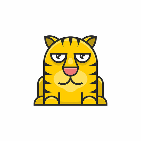 Cute tiger icon on white background