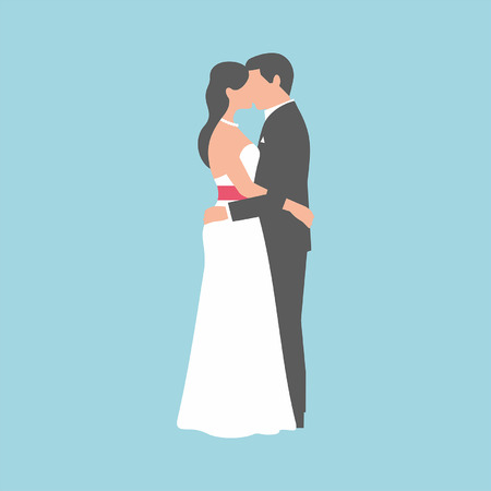 A groom and fiancee kiss each other on blue background Illustration