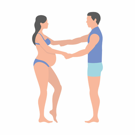 pregnant woman and her husband holding hands on white background