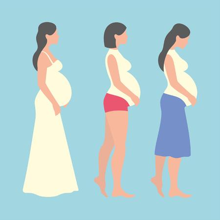 Pregnant woman on blue background Banco de Imagens - 95843806