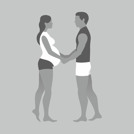 pregnant woman and her husband holding hands on gray background Vectores