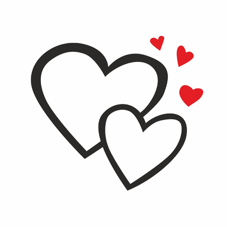 Two hearts line icon illustration