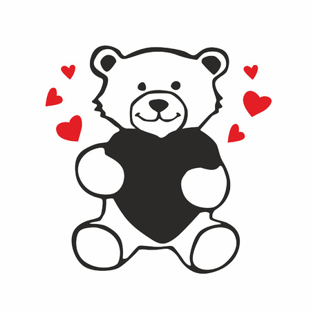 Teddy bear with heart vector sketch icon isolated on white background Illustration