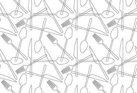 Seamless pattern fork, spoon, knife