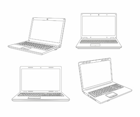 Set of laptop line style design. isolated on white background