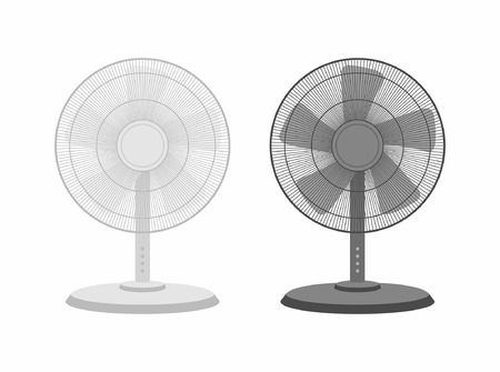 Two table fans black and white isolated on white backdrop Illustration
