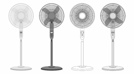 Set of electric stand fans isolated on white backdrop Иллюстрация