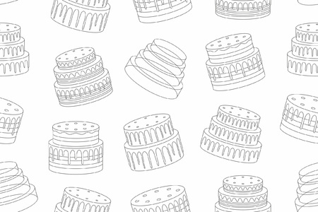 Seamless pattern with cakes, thin line style. isolated on white background