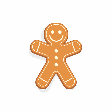Gingerbread man isolated on white background Illustration