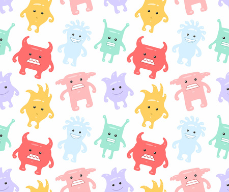 Colorful seamless monsters pattern. isolated on white background Illustration