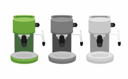Coffee machine isolated on white background set Illustration