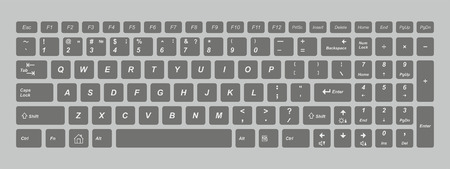 Black computer keyboard. isolated on gray background
