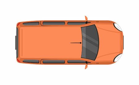 Orange minivan top view. Delivery truck