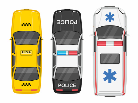 Top view Police, Ambulance car and taxi