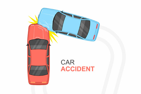 Accident car crash, Top View on white background Vector illustration.