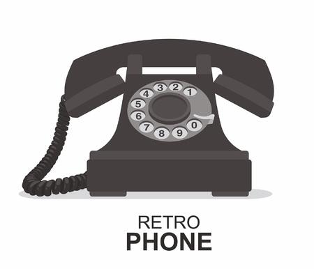 Black vintage telephone  isolated on plain background.
