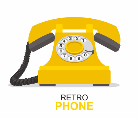 Yellow vintage telephone isolated on white background.