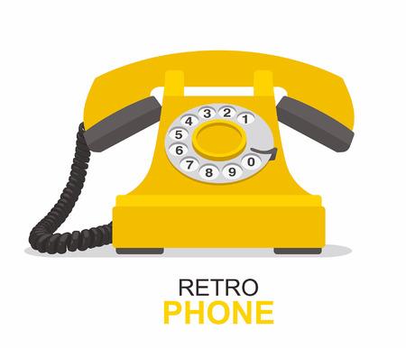 Téléphone vintage jaune isolé sur fond blanc.