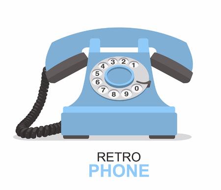 Blue vintage telephone isolated on white background.
