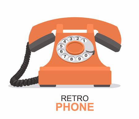 Orange vintage telephone isolated on plain background.
