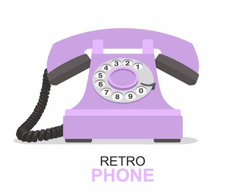 Purple vintage telephone  isolated on plain background. Illustration