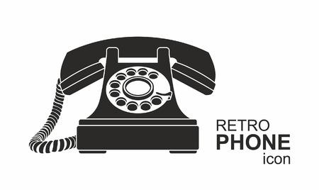 Black vintage telephone isolated on white background.