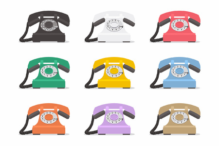 The set of vintage phones on a white background.