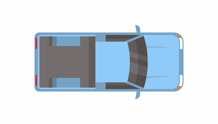 Blue Pickup truck. Top view illustration on white background.