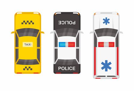 bovenaanzicht Politie, ambulance auto en taxi