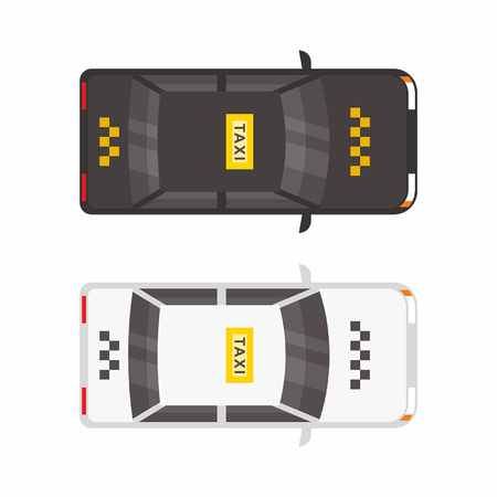 Top view Two Taxi car. White and black Illustration