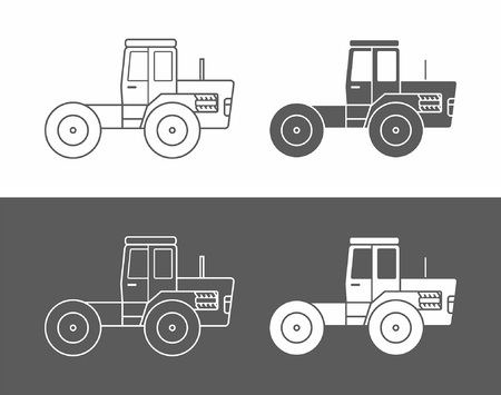 Tractor icon vector set in black and white Illustration. Ilustração