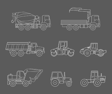 Construction machines icons set, thin line style Illustration
