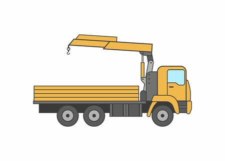 Commercial truck crane icon Illustration
